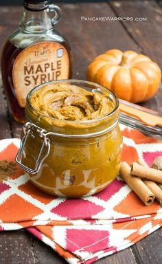 Maple Pumpkin Butter - gluten free, low fat, vegan and packed full of pumpkin flavor! Ready in just 15 minutes, good on toast, pancakes, oatmeal, English muffins, you name it! | www.pancakewarriors.com
