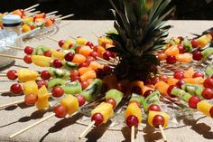 wedding appetizer tables | Look at the beautiful fruit kabobs! Also, you can't really see it, but ...