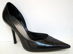 GUESS by Marciano 'Carrie' Black Leather Stiletto d'Orsay Pump Size 8.5M #GUESS #Stilettos
