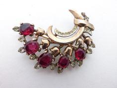 Trifari Sterling Pat pend 1940s brooch gold vermeil ruby red rhinestones AA691 by MeyankeeGliterz on Etsy