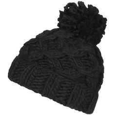 TOPSHOP Chain Hand-Knitted Beanie (1,415 PHP) ❤ liked on Polyvore featuring accessories, hats, black, black beanie, hand knitted hats, topshop, black beanie hat and black pom beanie