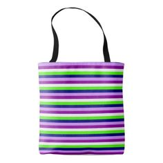 Purple Lime Lilac and White Stripes Pattern Tote Bag - modern gifts cyo gift ideas personalize
