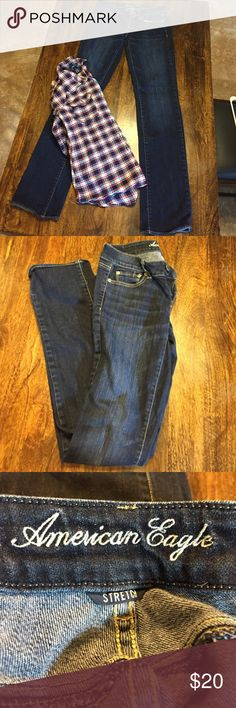Jeans Blue jeans.  Straight cut.  Really nice.  Worn twice.  Xlong cut. American Eagle Outfitters Jeans Straight Leg