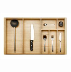 800mm Wide Oak Wood-Line Cutlery Insert | Supplier - LDL Kitchen and Furniture Fittings & Accessories