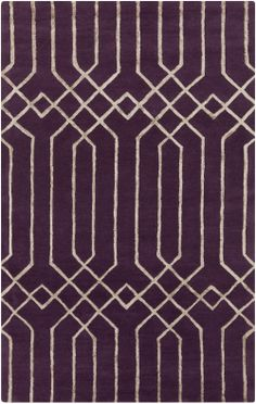 This Skyline rug's over-scaled geometric pattern set against deeply saturated aubergine gives the hand-tufted design with raised viscose accents statement-making appeal. (SKL-2017)
