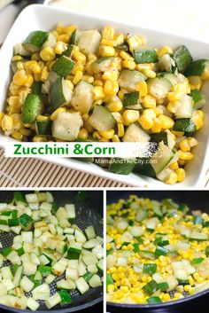Zucchini and Corn Mexican Side Dish. My grandma used to make this dish with pork and green tomatillo sauce. But still delicious on their own.