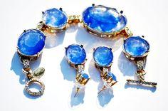 Vtg Anne Klein Blue Gold sapphire clear glass earrings and bracelet set Jewelry #AnneKlein