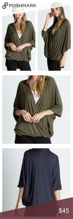 Dusty Olive Wrap Style Hoodie Top This listing is for a Dusty Olive Wrap Style Hoodie Top.    •loose fit •fabrics - 95% viscose 5% Lycra •Top will be delivered gently steamed and beautifully wrapped in tissue •PRICE FIRM unless bundled Tops Sweatshirts & Hoodies