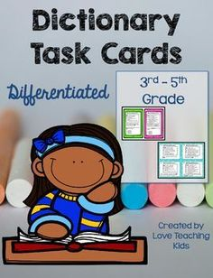 These dictionary task cards includes 3 differentiated task card for your struggling,average, and advanced students. The task cards use the same dictionary entries but is differentiated for your different learners. The task cards are also in black and white. Teaching Reading, Teaching Tools, Teaching Kids, Teaching Resources, Dictionary Entry, Dictionary Skills, Dictionary Activities, 3rd Grade Reading, Third Grade