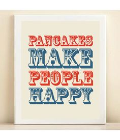Retro Red & Blue Pancakes Make People Happy par AmandaCatherineDes, $15,00