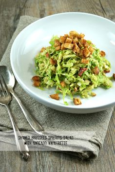 Shaved Brussels Sprouts Salad with Avocado Vinaigrette
