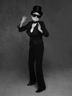 "f88886e57fab Yoko Ono - ""The Little Black Jacket"" – Celebrities in black Chanel Jackets  photographed by Karl Lagerfeld and Carine Roitfeld"