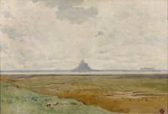 Old Master & Century Paintings and Drawings Le Mont St Michel, Old Master, Normandy, Painting & Drawing, Landscape Paintings, 19th Century, Saints, Drawings, Oil On Canvas