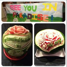 We were at an entertainment evening for international delegates in Indianapolis, IN. Enjoyed these beautifully carved watermelons and a wonderful sign as you left.  ..... Wow! Amazing!! ♥•.¸¸.•♥   JW.org has the Bible and bible based study aids to read, watch, listen and download in 300+ (sign included) languages. They also offer free in home bible studies.  All at no charge.