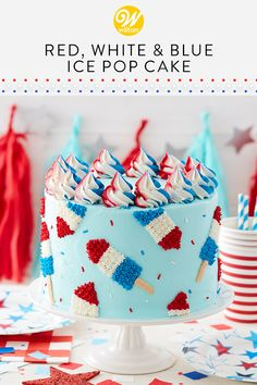 Celebrate the of July with this bomb-tastic Red, White and Blue Ice Pop Cake. A fun and festive way to celebrate Independence Day (or a summer BBQ), this cake shines with American pride! Patriotic Desserts, 4th Of July Desserts, French Desserts, Fourth Of July Cakes, 4th Of July Party, July 4th, Cupcakes, Cupcake Cakes, Salty Cake