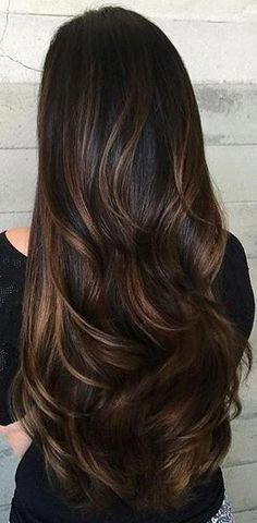 Hair Color Chocolate Brown Rich Brunette 59 Ideas - All For Hair Color Balayage Brunette Hair With Highlights, Hair Highlights And Lowlights, Hair Color Highlights, Hair Color Dark, Ombre Hair Color, Hair Color Balayage, Subtle Balayage, Brunette Lob, Lob Ombre