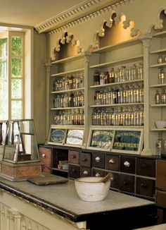 oooo...love the dentil molding around the build-in shelves and the drawers with classic handles!
