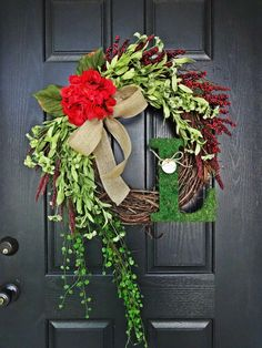 """The """"Grand"""" Christmas Wreath,  Smaller Version, Wreath in Red and Green, French Country Wreath, Moss, Burlap and Hydrangeas by AnnabelleEveDesigns on Etsy https://www.etsy.com/listing/168095675/the-grand-christmas-wreath-smaller"""
