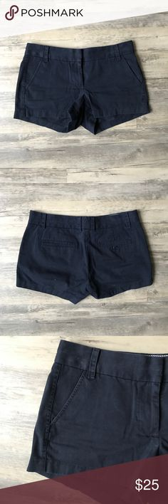J Crew | Dark Blue Chino Shorts Size 4 Very comfy and versatile chino shorts from J Crew! Missing one button on the back pocket, but you can easily replace that (I don't have the sewing skills or patience for it!) Size 4, in excellent condition besides the button. J. Crew Shorts