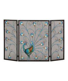 Look at this #zulilyfind! Peacock Tri-Fold Fireplace Screen #zulilyfinds