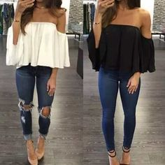 Women Off Shoulder Short Sleeve Fashion Shirt Casual Blouse Tops Loose T-shirt in Clothing, Shoes & Accessories, Women's Clothing, Tops & Blouses Casual Summer Outfits, Classy Outfits, Spring Outfits, Cute Dress Outfits, Casual Fall, Mode Outfits, Fashion Outfits, Womens Fashion, Fashion Trends