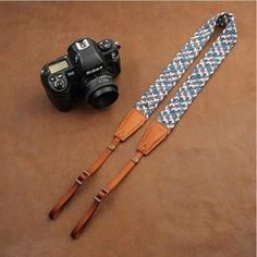 Blue Handmade DSLR Leather Camera Wrist Strap 8795 Handmade with top layer cow leather and denim. It can fit almost every DSLR, SLR and some larger digital cameras. ***********************************