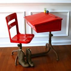 Vintage School Desk And Chair Metal Wooden Fire Engine Red