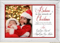 Believe Miracle Photo Christmas Card - Classic 2016 Red & Gray