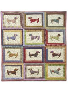 Featuring happy, scrappy appliqued dachshunds, the Hot Diggity Dog! quilt pattern is perfect to make for dog-lovers!   Simple, colorful Log Cabin blocks surround the appliqued dogs. This quilt pattern requires no border. Just bind it and you're done!...