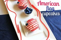 Recipes that are all decked out in red, white, and blue perfect for all patriotic and summer celebrating Holiday Cupcakes, Yummy Cupcakes, Holiday Treats, Holiday Recipes, Patriotic Cupcakes, Cupcake Recipes, Cupcake Cakes, Fourth Of July Food, July 4th