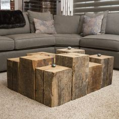 Give new life to reclaimed materials that enrich your living space. Created with structural beams from century old properties in Cleveland, each repurposed block wood has varying colors due to age and Traditional Interior, Decorating Coffee Tables, Decorating Ideas, Beautiful Homes, Table Decorations, Living Room, Interior Design, Furniture, Home Decor