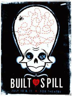 Original silkscreen concert poster for Built To Spill at the Fox in Boulder, CO.