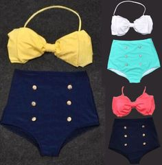 RETRO Pinup Bow Tie Bandeau Vintage High Waist Bikini Swimsuit Swimwear-SMLXL #new #swimwear