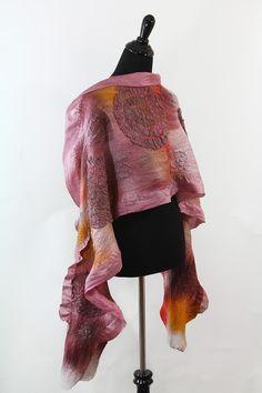OOAK Nuno felted taupe scarf unique texture shawl - nafanyafelt - Felt Scarves - Shawls & Scarves - DaWanda
