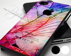 Cracked Out Broken Glass Galaxy Nebula - Print Hard Case - iPhone 4/4s Case - iPhone 5 Case - Black - White (Option Please)