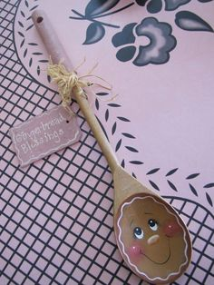 Vtg Handmade/Hand Painted Gingerbread Man Lady Wooden Spoon Rest w/ Pink Accents
