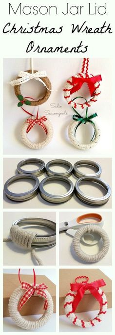 "Need an easy DIY Christmas craft project for kids this year? Repurpose some mason jar lid rings / bands by creating adorable ""wreath"" ornaments to hang on the tree! A simple repurpose / upcycle project that would make for a sweet gift...or keep them yourself for your tree! Or even attach to a wrapped present! #SadieSeasongoods / www.sadieseasongoods.com"