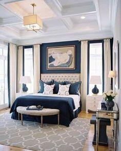 Navy Master Bedroom, Navy Blue Bedrooms, Blue Bedroom Decor, Master Bedroom Design, Bedroom Colors, Dream Bedroom, Master Bedrooms, Master Suite, Bedroom Brown