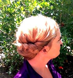 around the world braid...sweep all hair to side, braid, wrap, & secure
