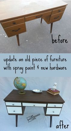 Spray Painting Old Furniture | TodaysCreativeBlog.net