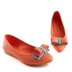 $22.99 Faux Leather Close Toe Bow Decor Flats @ MayKool.com