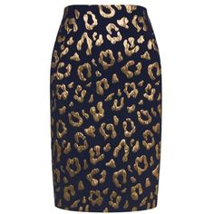 Essentiel Antwerp - Higgy gold foil leopard skirt ($115) ❤ liked on Polyvore featuring skirts, metallic skirt, metallic pencil skirt, knee length pencil skirt, pencil skirt and blue metallic skirt