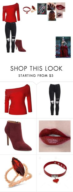 """""""once upon a time in wonderland the red queens adopted daughter"""" by getjinxed205 on Polyvore featuring Once Upon a Time, LE3NO, AMIRI, Pure Navy, Essie and Victoria Six"""