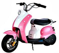 Kids rocket Retro pocket Mod Scooter – 24v Electric / Battery ride on Moped – Pink