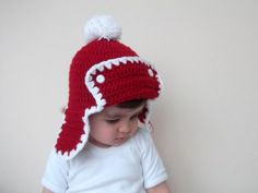 Crochet  Baby Hat in Red and WhiteChristmas by myknittingworld, $23.00