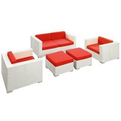 East End Imports EEI-607-WHI-RED-SET Malibu Outdoor Rattan 5 Piece Set In White with Red Cushions by East End Imports. $1147.50. All Weather Synthetic Rattan WeavePowder Coated Aluminum FrameWater & UV ResistantMachine Washable. Design is stylish and innovative. Satisfaction Ensured.. Great Gift Idea.. Product Mterials: Synthetic Rattan Weave,Powder Coated Aluminum,Tempered Glass. Dimensions: Coffee Table Dimensions: 24L x 24W x 12HOttoman Dimensions: 24L x 24W x 12...