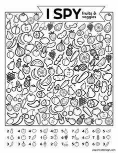 Free Printable I Spy Game - Fruits & Veggies. Easy fun car activity or rainy day boredom buster activty to keep kids busy. crafts for kids learning fun activities Spring Coloring Pages, Free Coloring Pages, Printable Coloring Pages, Coloring Sheets, Egg Coloring, Coloring Worksheets, Alphabet Coloring, Coloring Books, Game Fruit