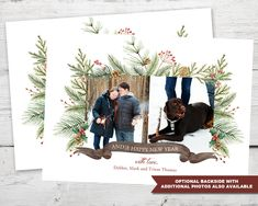 Watercolor Christmas Cards with Photo PRINTABLE, Christmas Pine Photo Card, Photo Holiday Cards, Photo Cards Christmas, Holiday Cards Photo Watercolor Christmas Cards, Christmas Photo Cards, Holiday Cards, Christmas Holidays, 2nd Birthday Invitations, Happy Year, Christmas Printables, Pine, Christian Christmas Cards