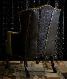 Corset chair for Gothic / Steampunk look Gothic Furniture, Furniture Decor, Furniture Design, Leather Furniture, Dark Furniture, Steampunk Furniture, Furniture Removal, Funky Furniture, Furniture Stores