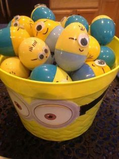 Little minion eggs. Easy to make - yellow & blue plastic eggs & googley eye